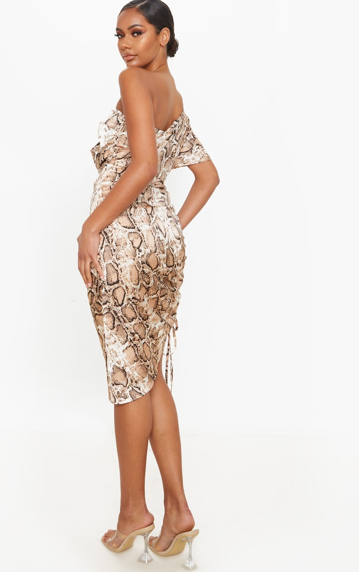 Tan Snake Print One Shoulder Ruched Side Midi Dress 2