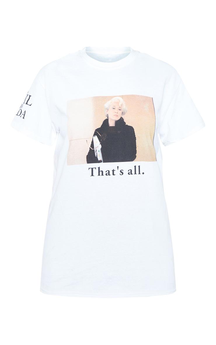 T-shirt oversize blanc imprimé Le Diable s'Habille en Prada à slogan That's All 3