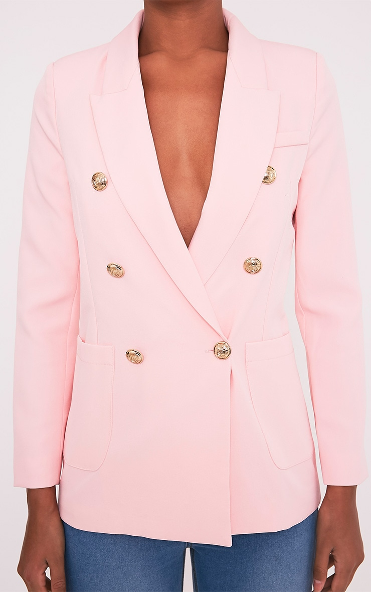 Pari Pink Double Breasted Military Style Blazer 5