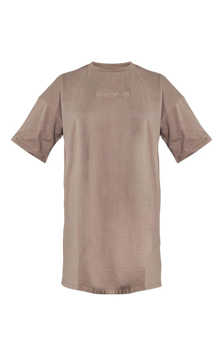 RENEW PRETTYLITTLETHING Light Chocolate Oversized Boyfriend T Shirt Dress 5
