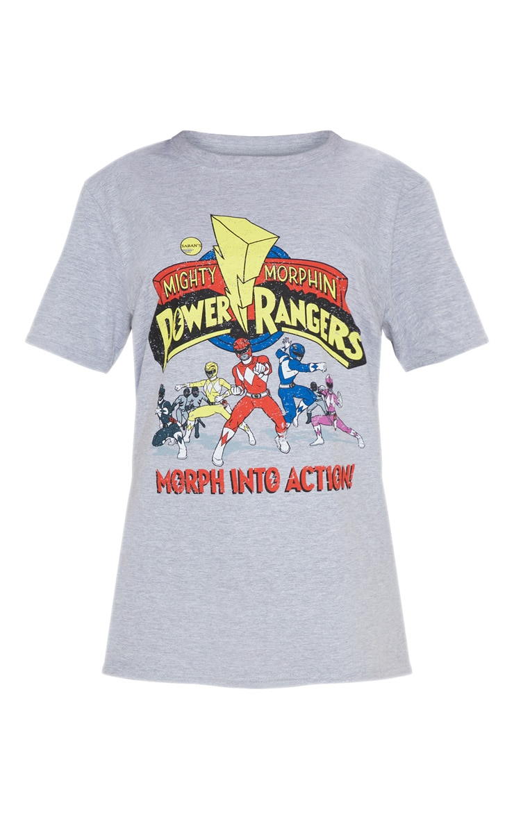 Grey Marl Power Rangers Printed Oversized T Shirt 3