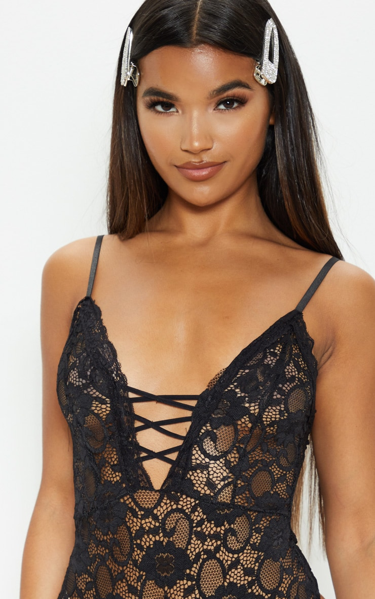 Black Lace Up Front Lace Bodysuit 6