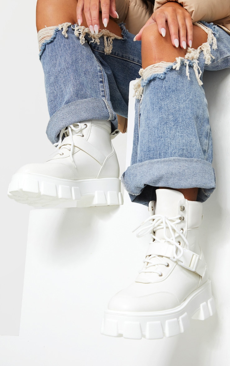 White Extreme Chunky Sole Buckle Clasp Hiker Boots 1