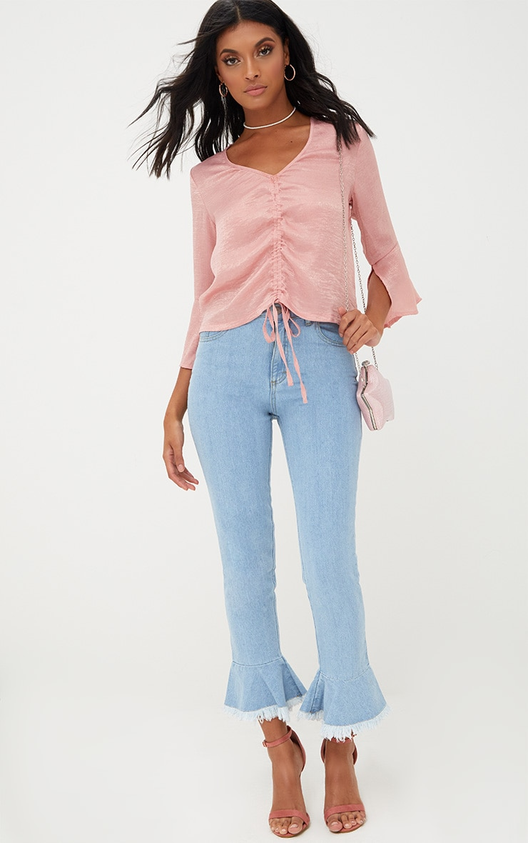 Pink Ruched Front Frill Sleeve Satin Top  4