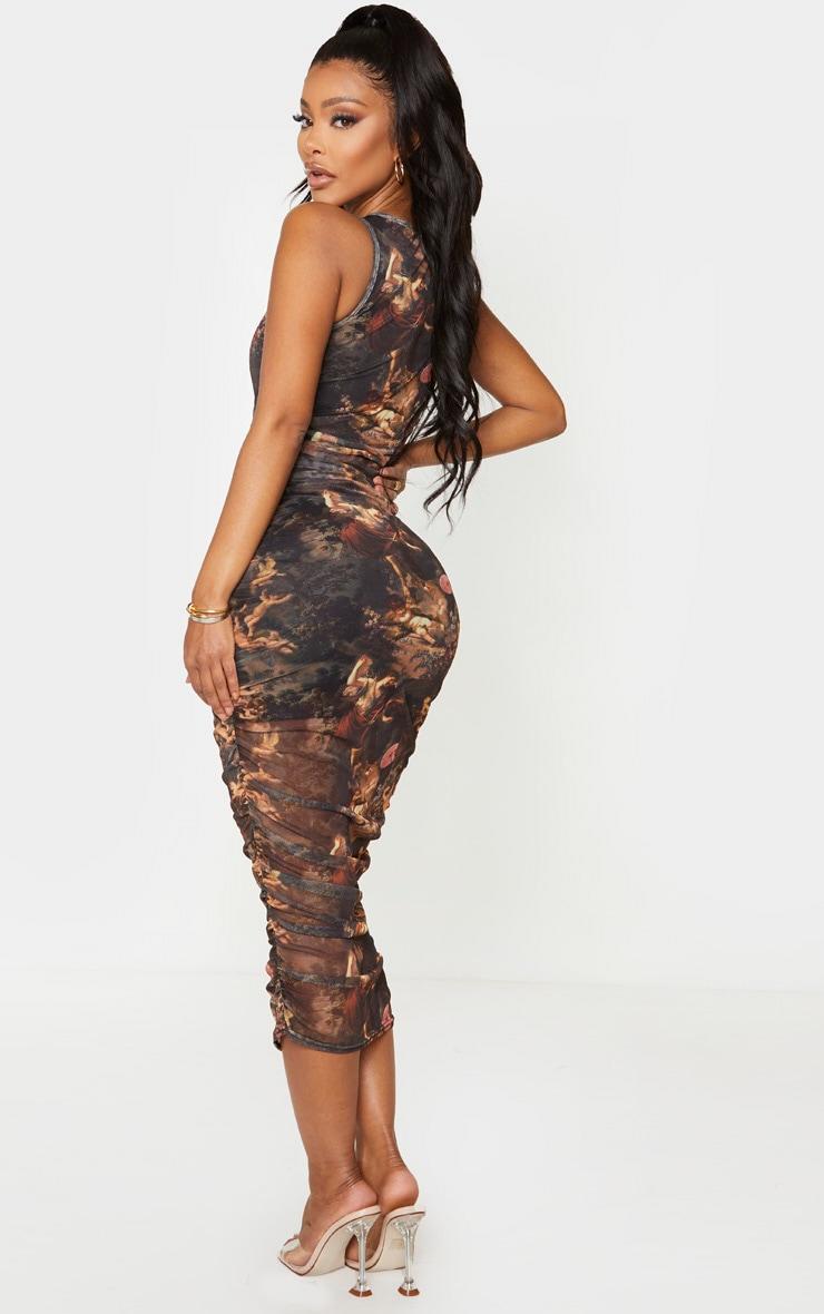 Shape Brown Renaissance Print Sleeveless Midi Dress 2