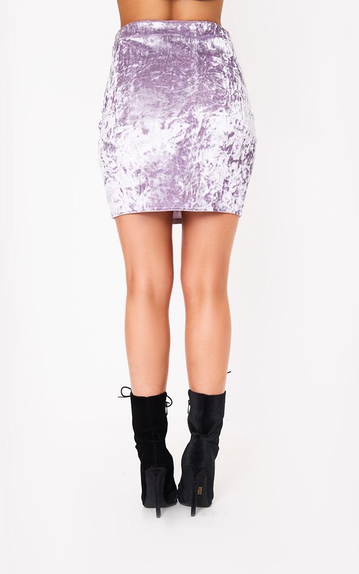 Lilac Velvet Split Mini Skirt 4