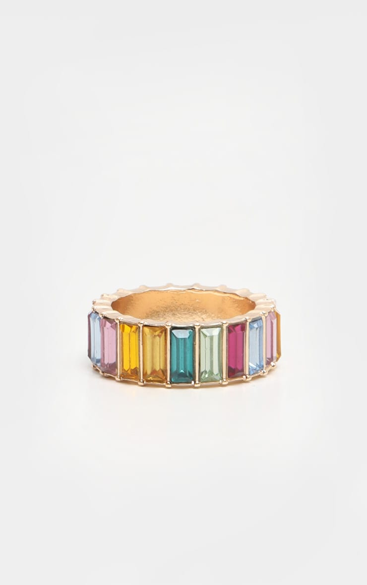 Multi Jewel Colored Entreaty Band Style Ring 3