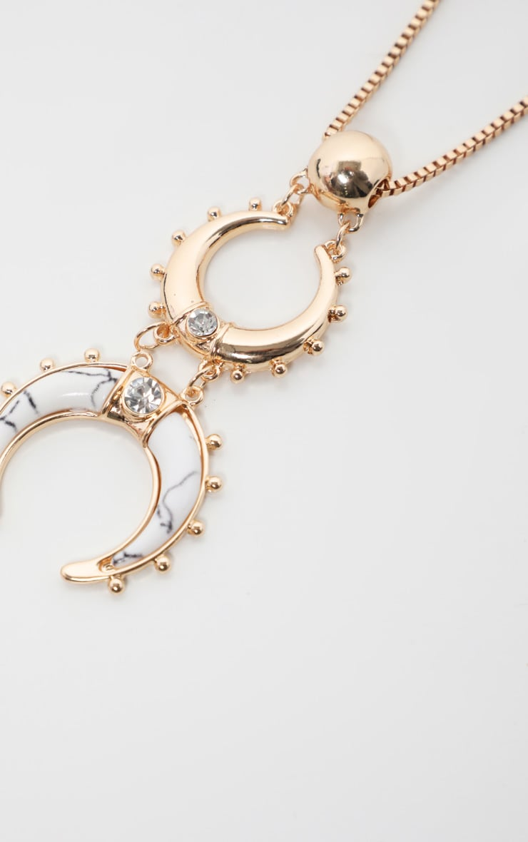 Gold Cresent Moon Statement Drop Necklace 4