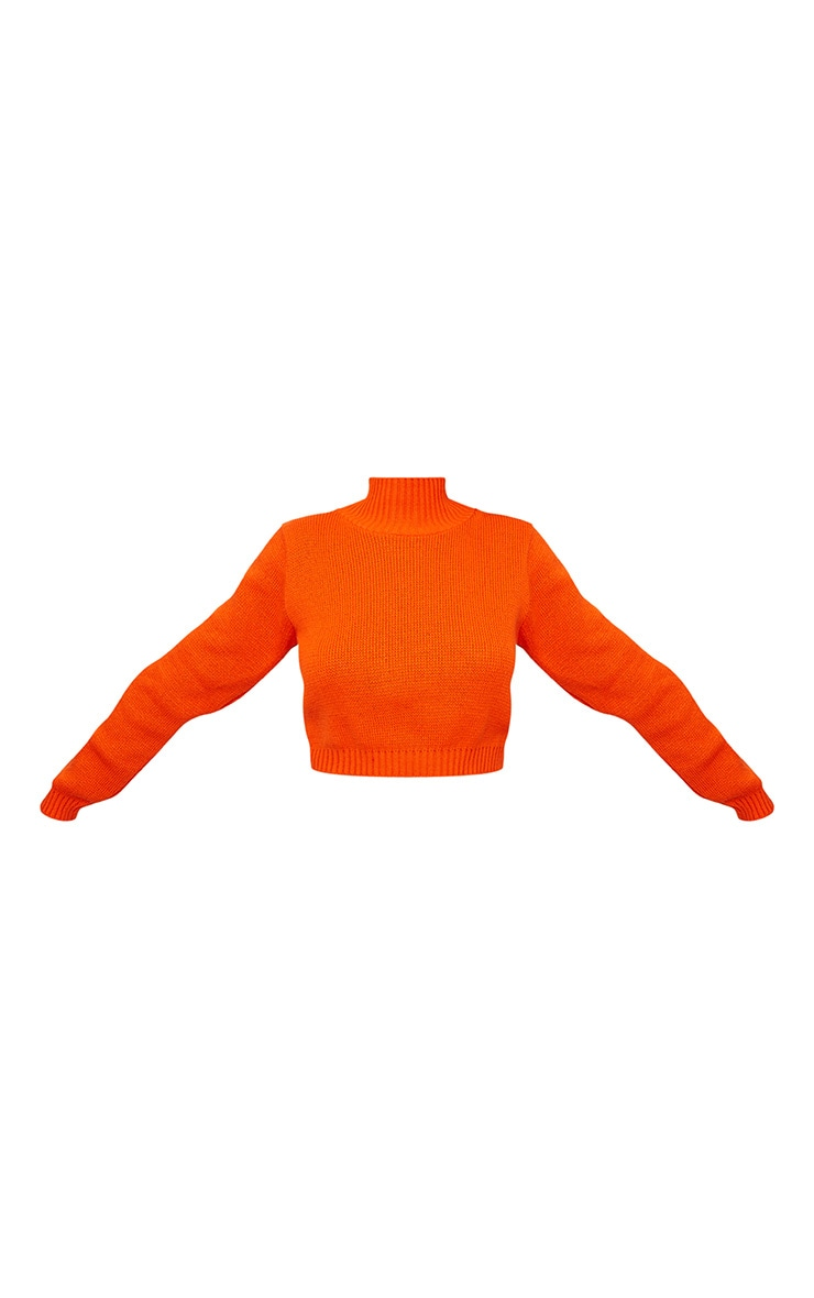 Orange High Neck Soft Knit Cropped Sweater 3
