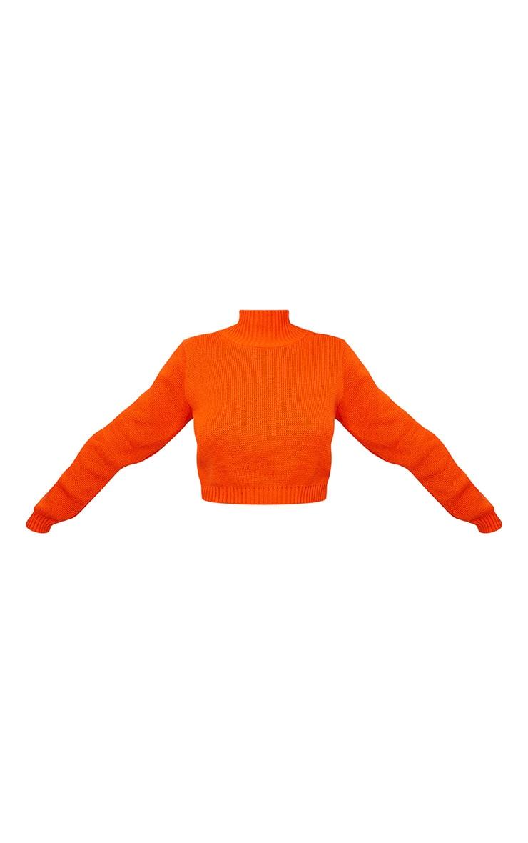 Orange High Neck Soft Knit Cropped Sweater 3