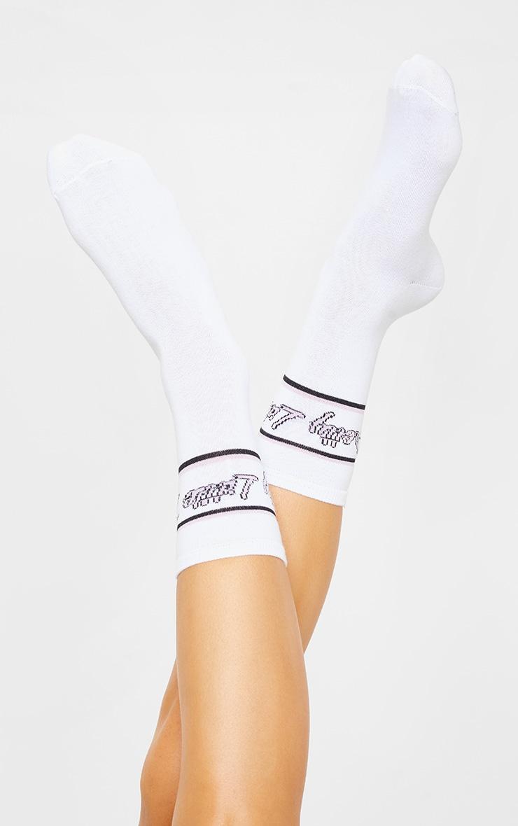 PRETTYLITTLETHING White Italic Pink Retro Socks 2