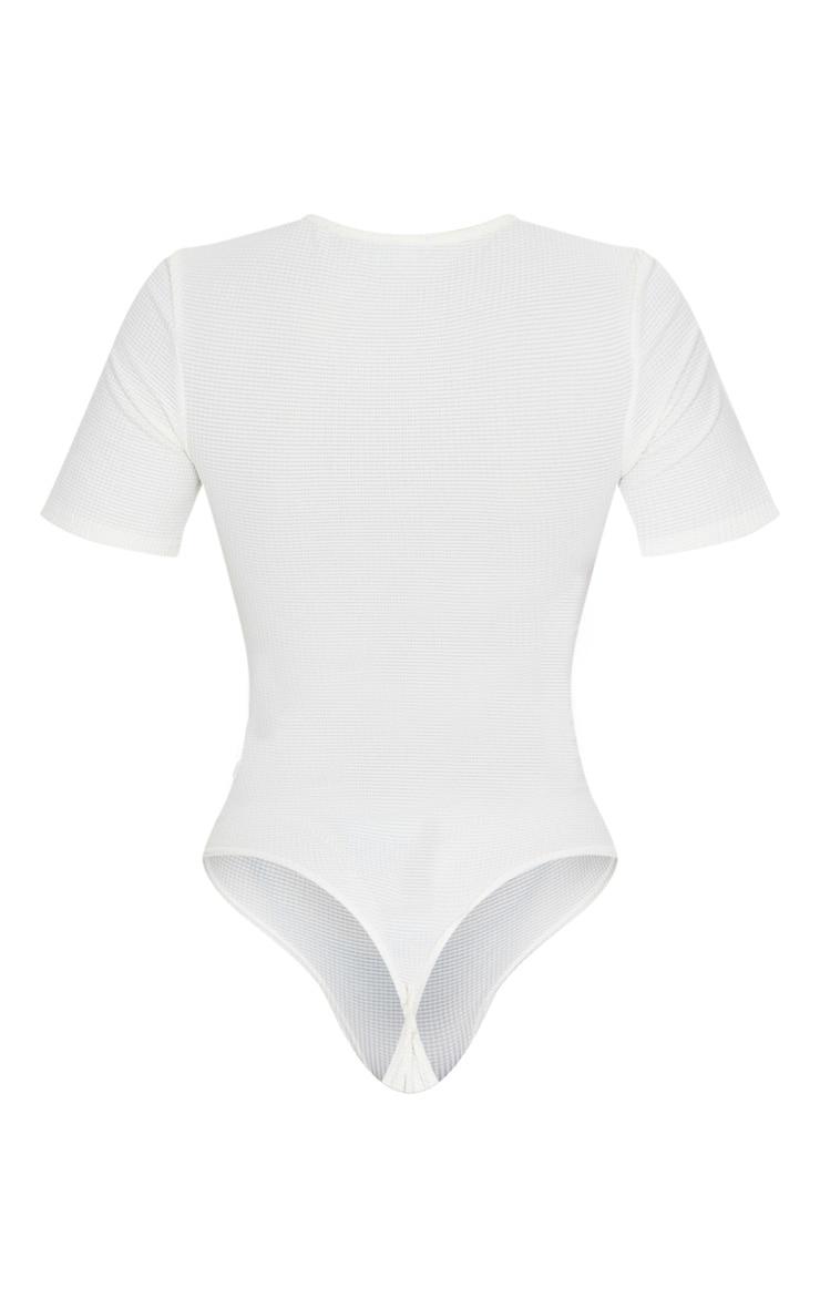 Cream Waffle Short Sleeve Bodysuit 6