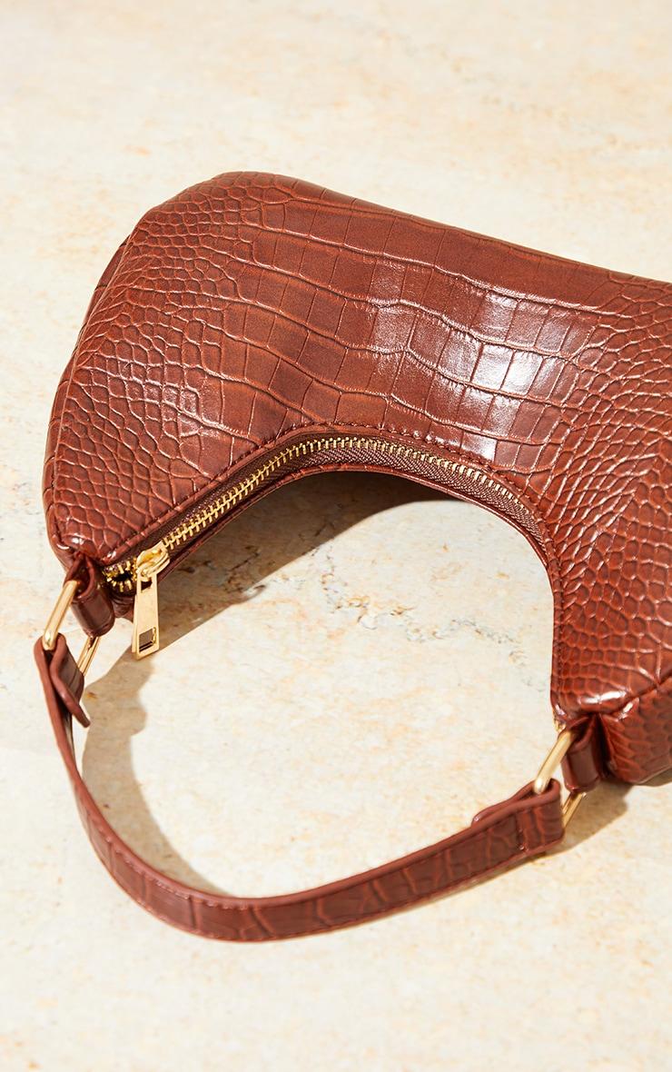 Brown Snake Rounded Shoulder Bag 3
