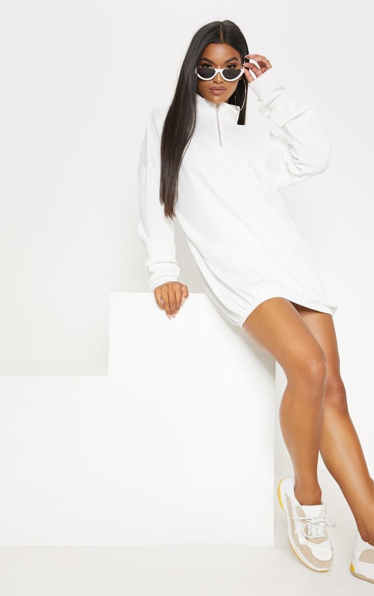 Cream Rib Zip Front Elasticated Hem Jumper Dress
