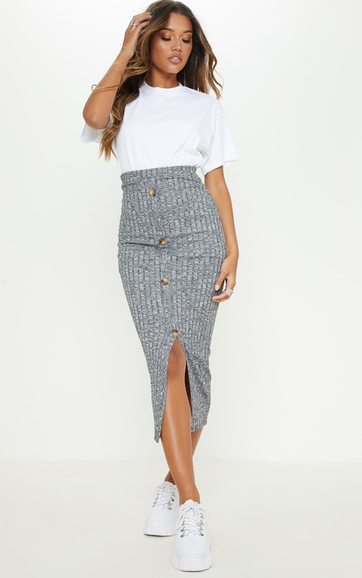 Grey Marl Textured Rib Button Front Midaxi Skirt 1