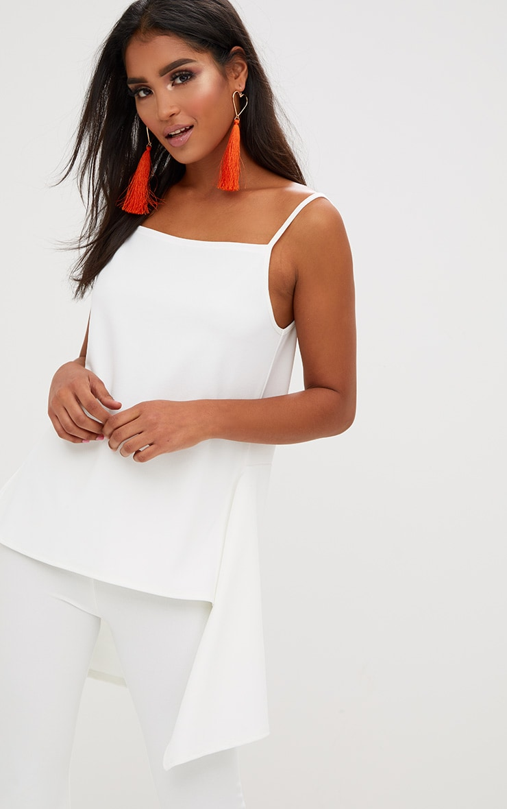 White Longline Waterfall Vest Top 1