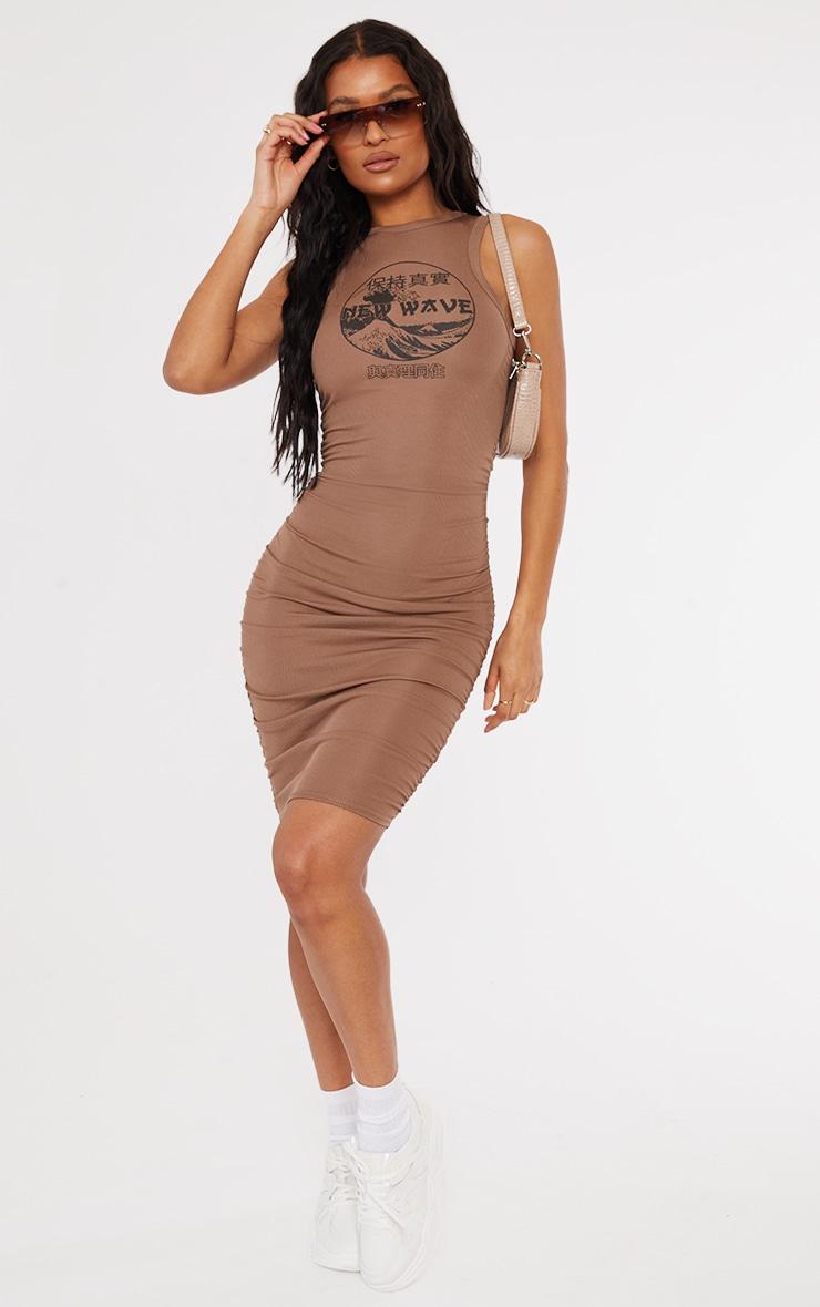 Mocha New Wave Printed Ruched Rib Bodycon Dress 3