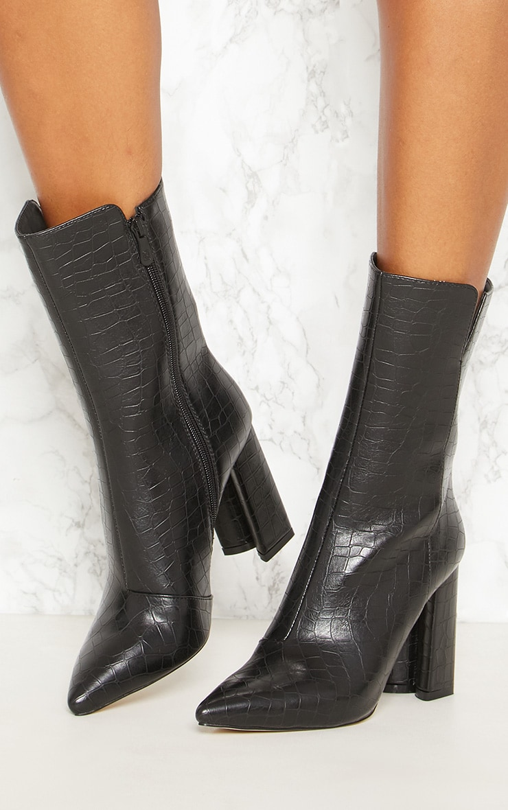 Black Faux Croc High Point Ankle Boot 2