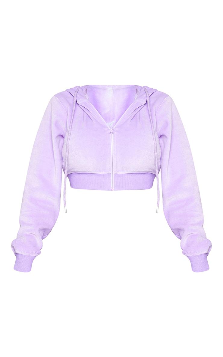 PRETTYLITTLETHING Shape Lilac Velour Extreme Crop Sweatshirt 5