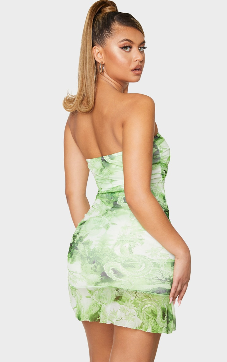 Lime Dragon Print Mesh Ruched Frill Edge Bandeau Bodycon Dress 2