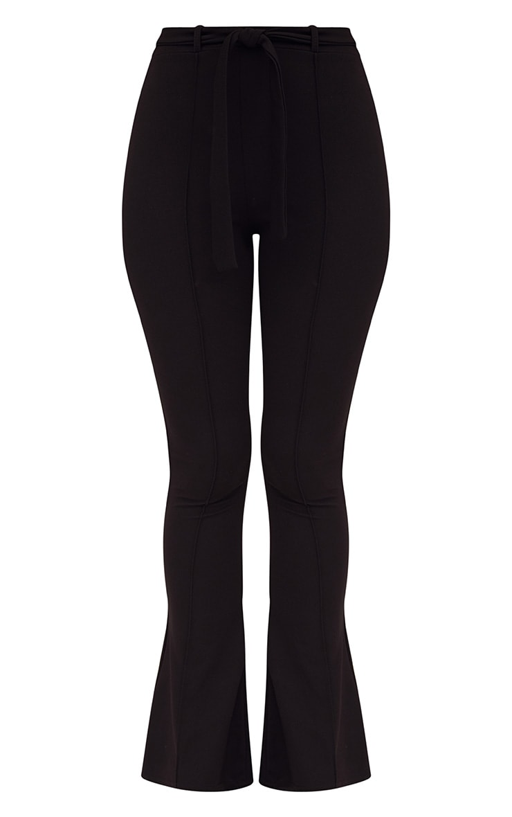 Petite Black Flared Belted Trousers 2