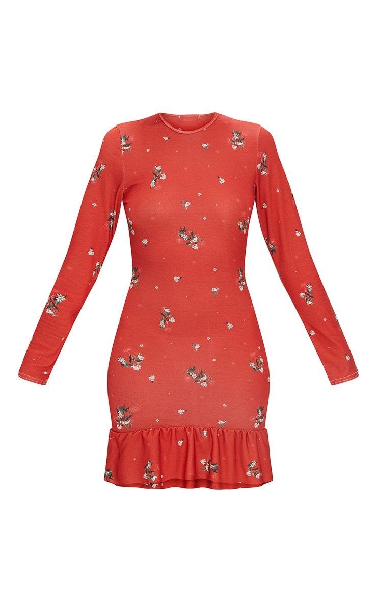 Red Floral Jersey Long Sleeve Frill Dress 3