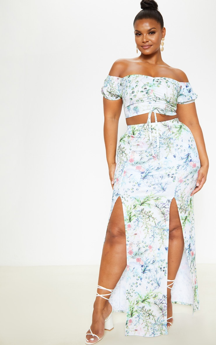 Plus Sage Green Tropical Flower Print Ruched Front Crop Top  4