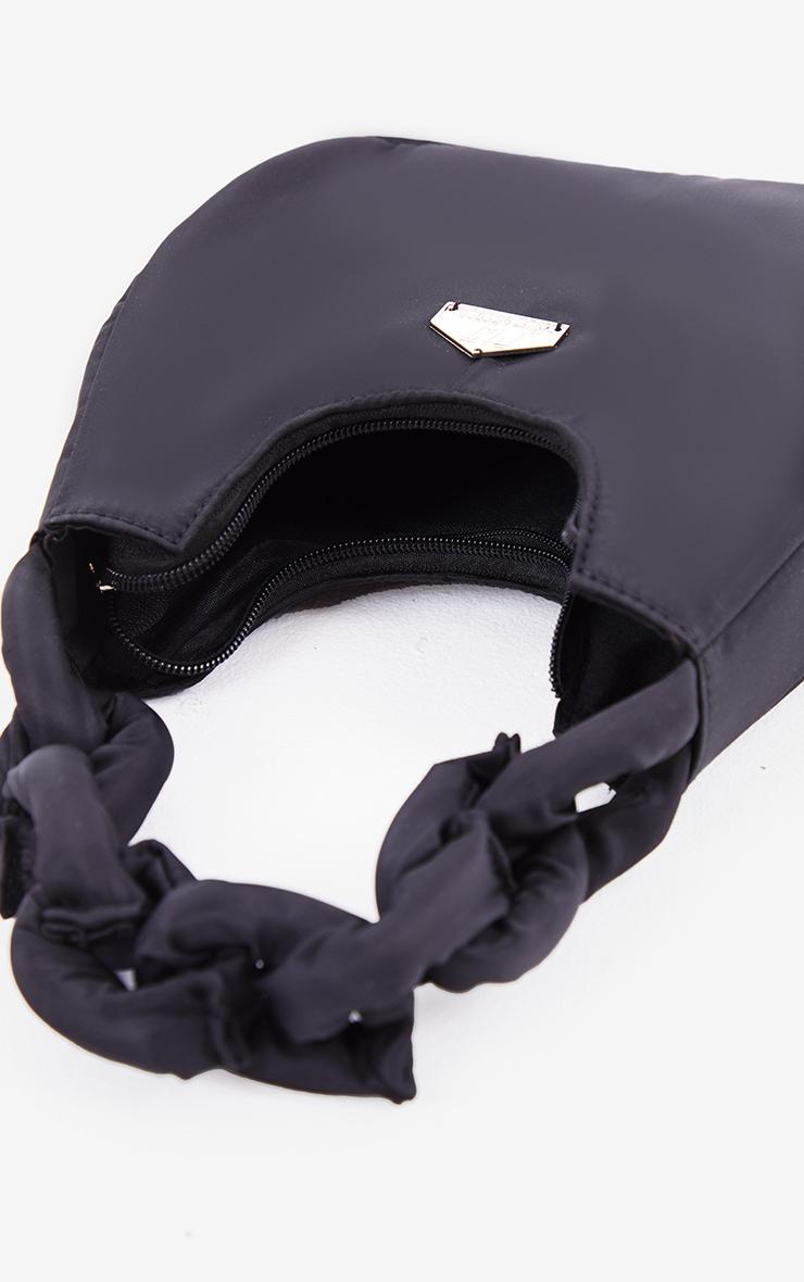 PRETTYLITTLETHING Black Knotted Handle Shoulder Bag 3
