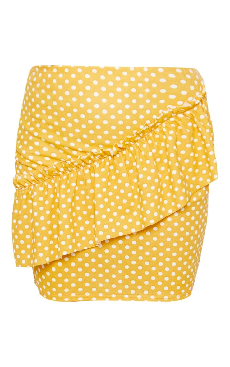 Mustard Polka Dot Frill Mini Skirt 3