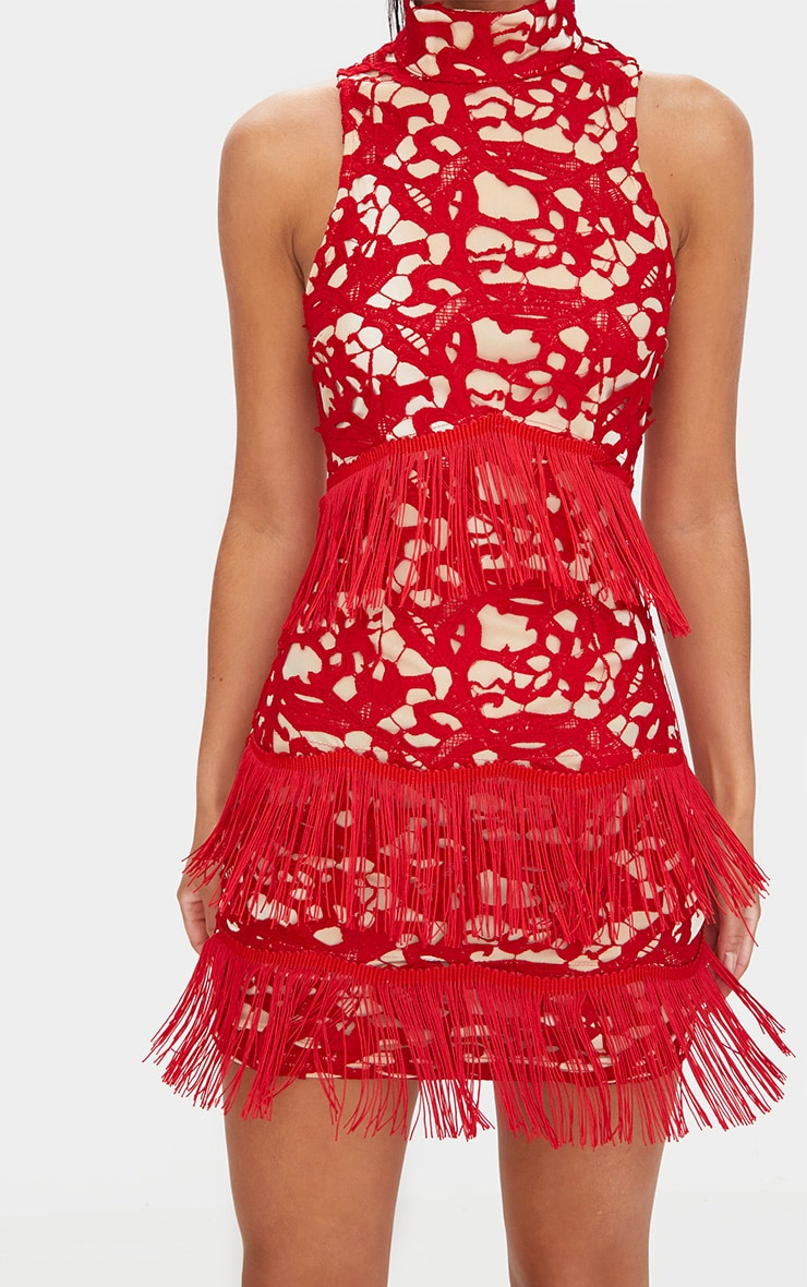 Red Lace Sleeveless Tassel Detail Bodycon Dress  5