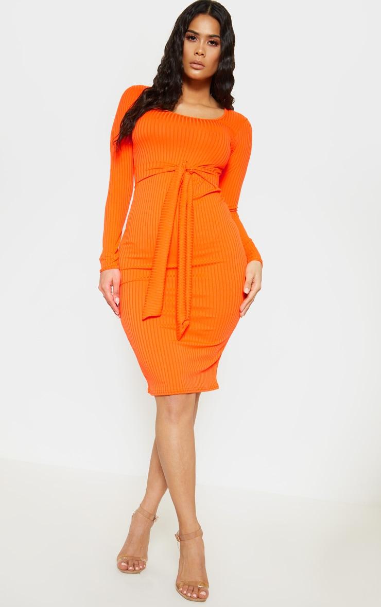 Orange Ribbed Long Sleeve Tie Waist Midi Dress 1