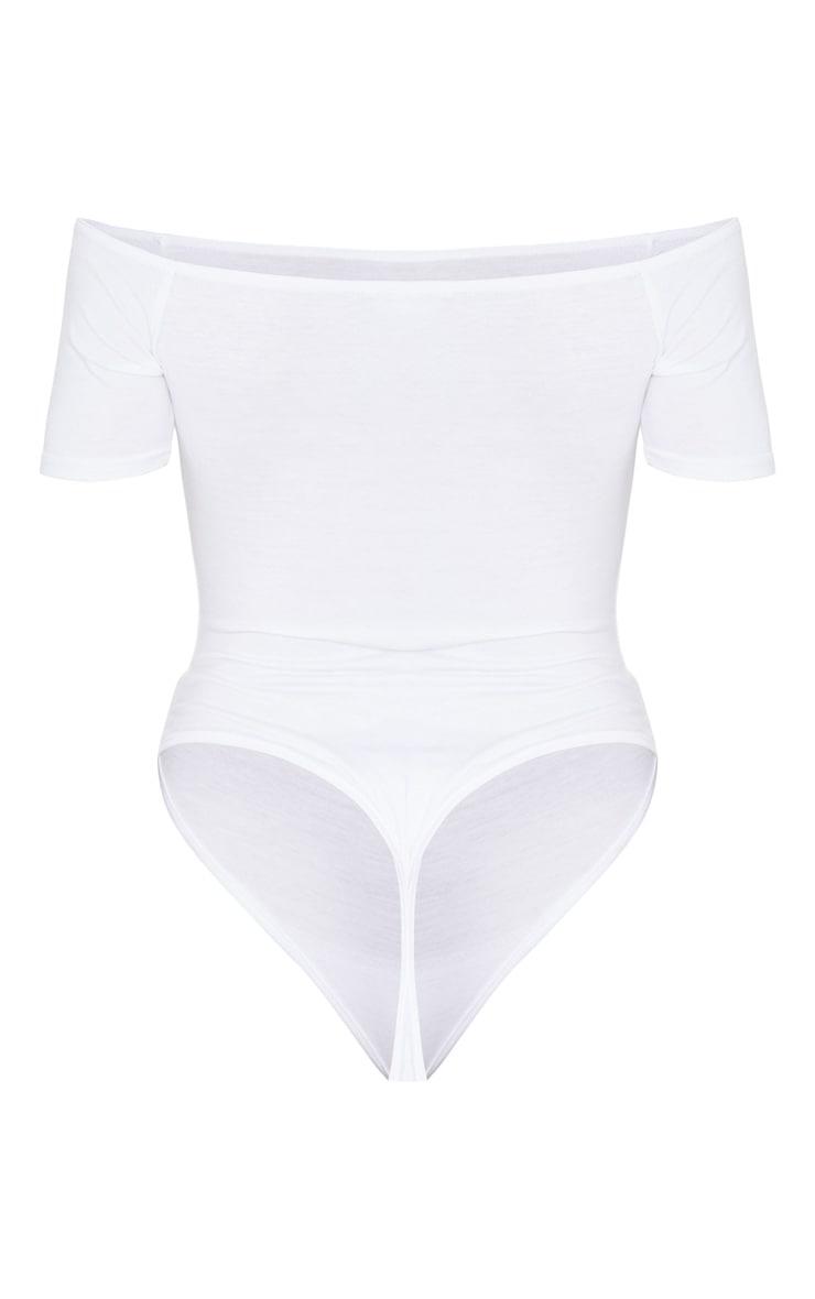 Black/White 2 Pack Basic Bardot Short Sleeve Thong Bodysuit 6