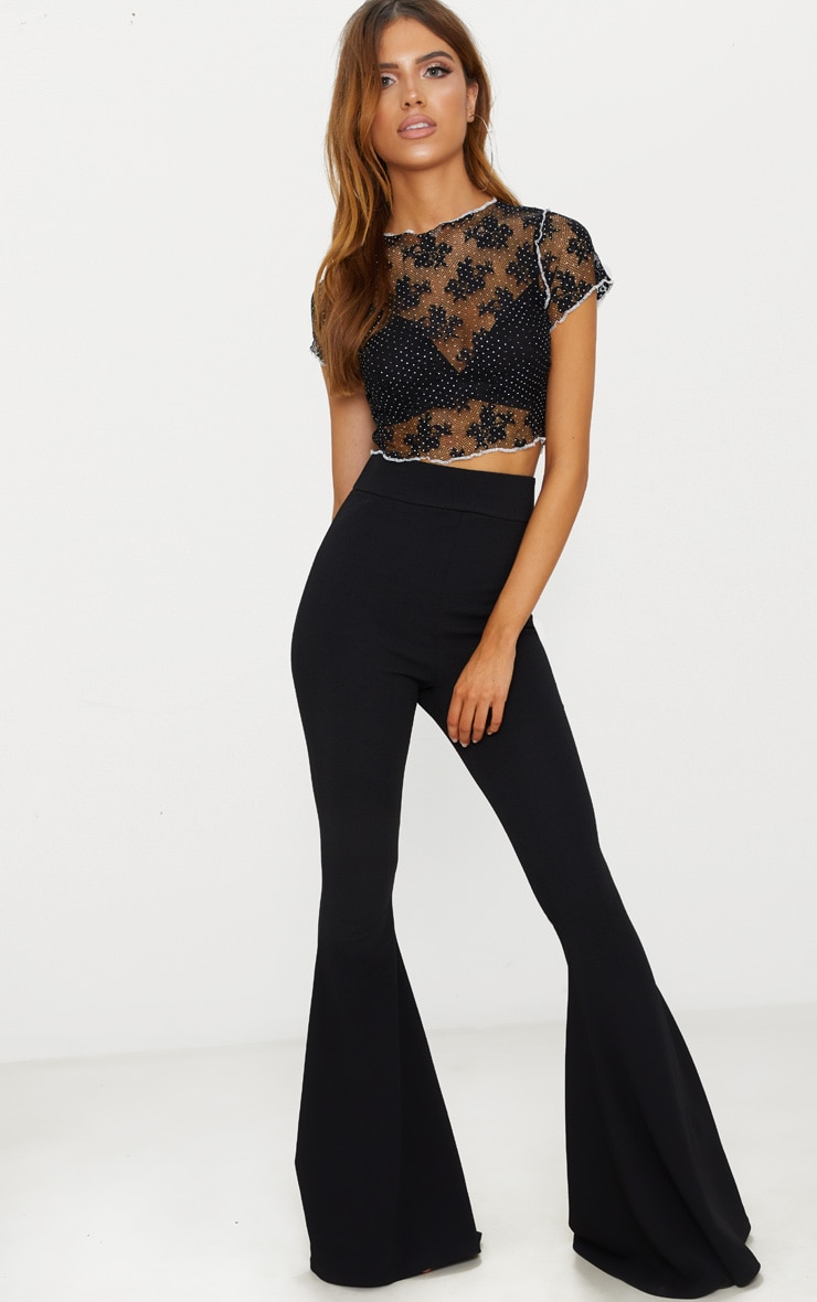 Black Lace Contrast Seam Crop Top 4