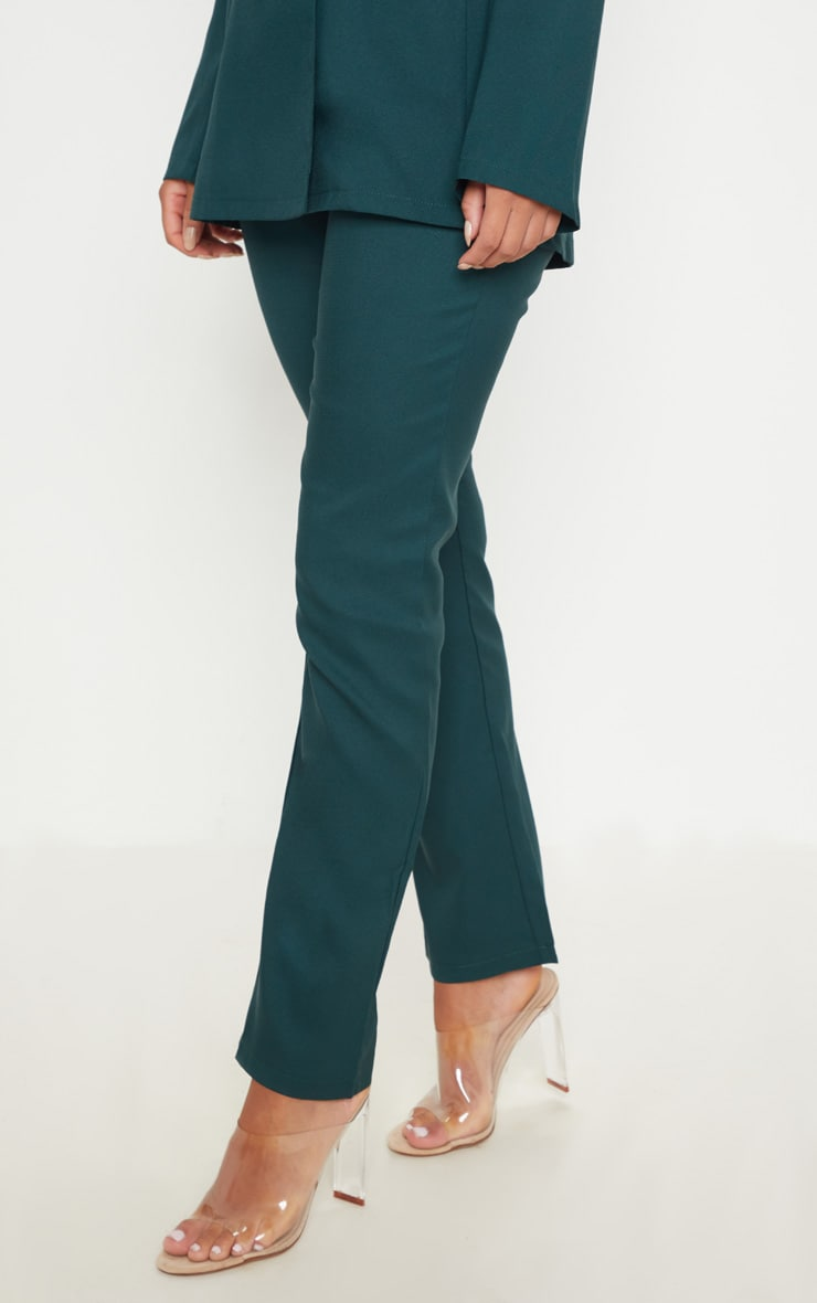 Dark Green Woven Suit Trousers 2
