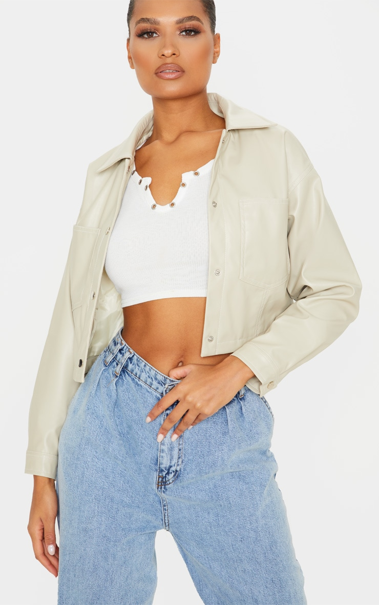 Stone Faux Leather Contrast Stitch Crop Jacket 1