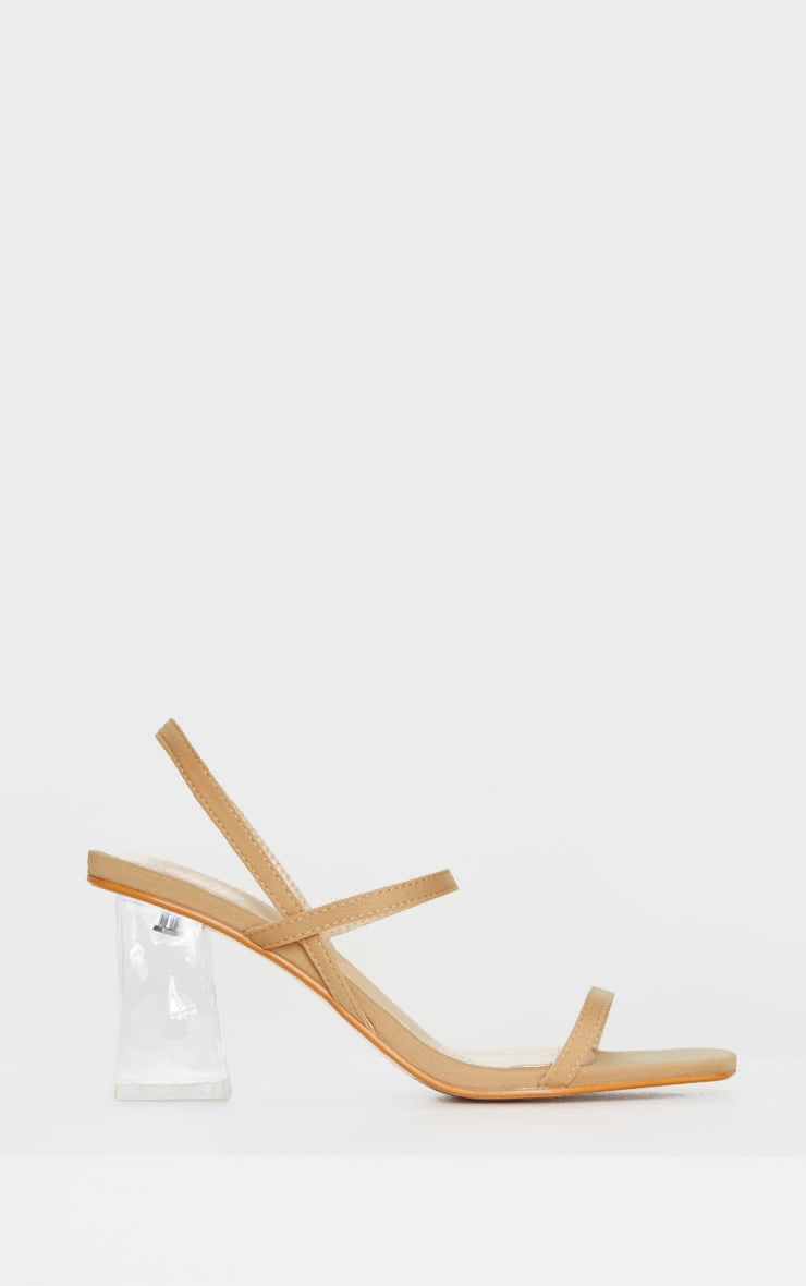 Sandales à doubles brides nude et talons carrés transparents 3