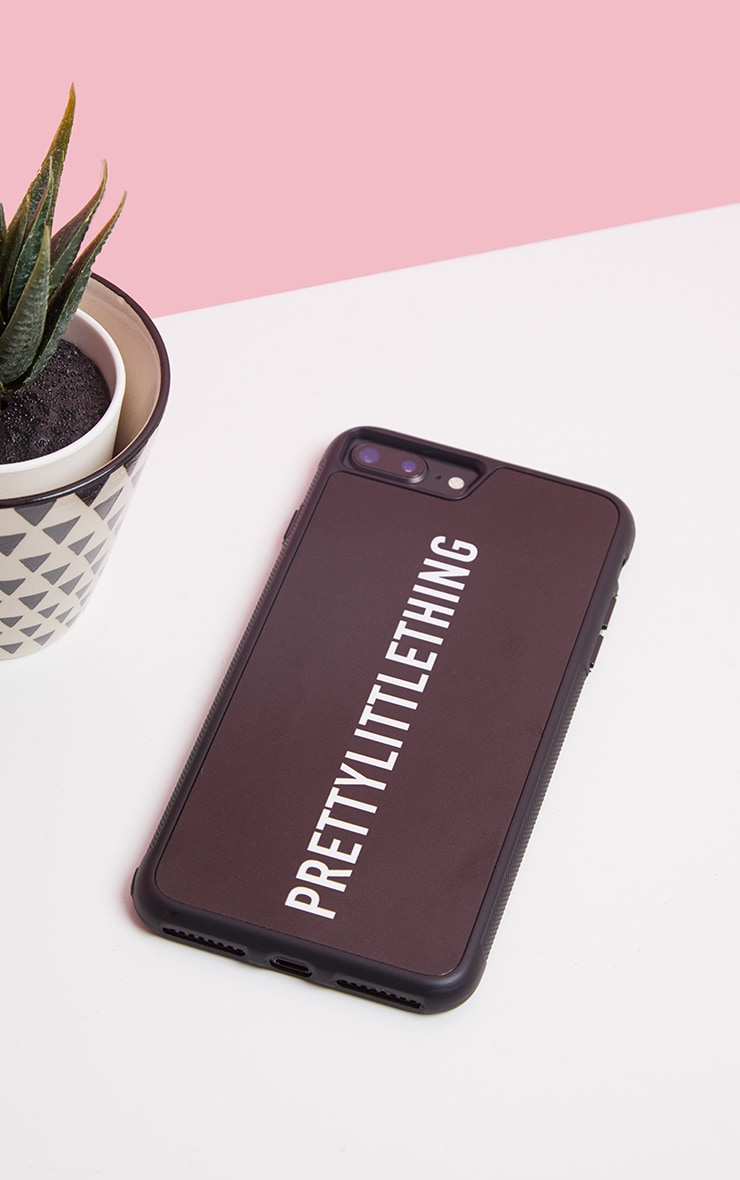 PRETTYLITTLETHING Black Logo iPhone Case 8 Plus 2