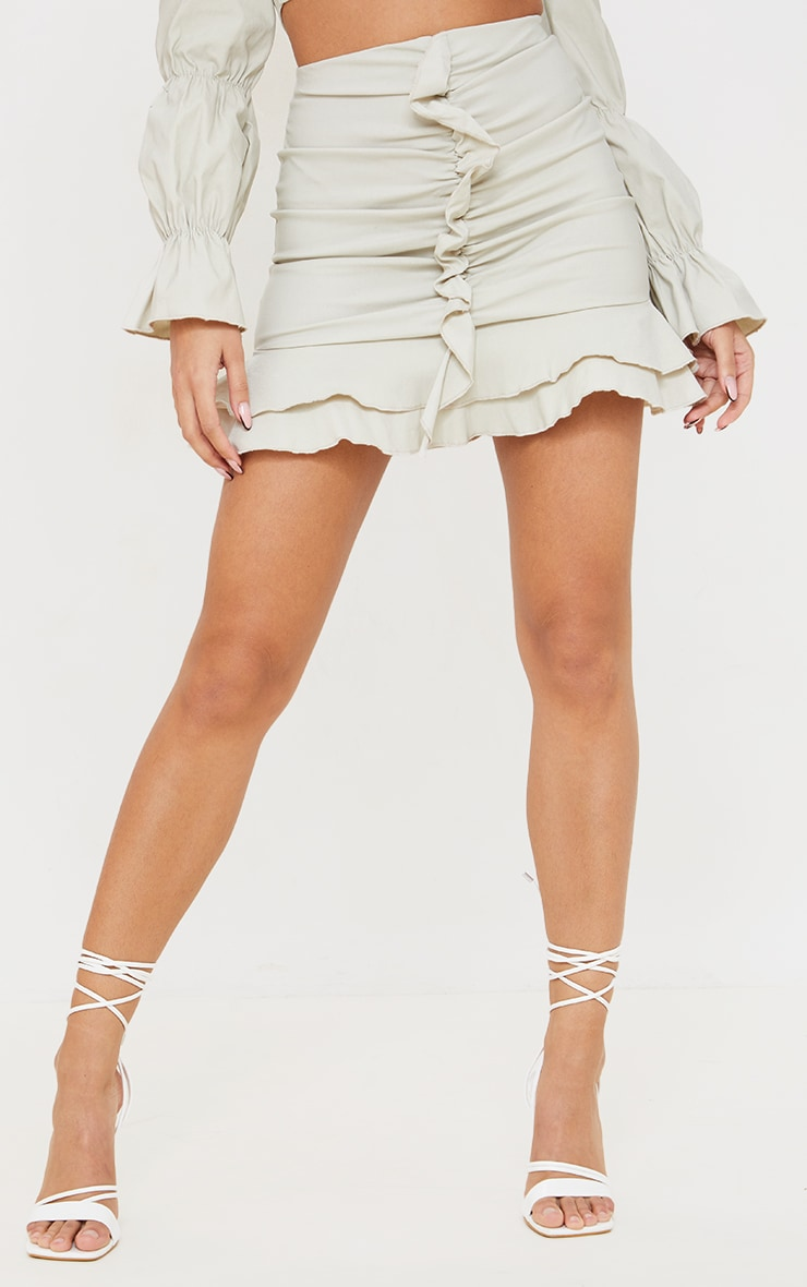 Stone Woven Stretch Ruched Front Mini Skirt 2