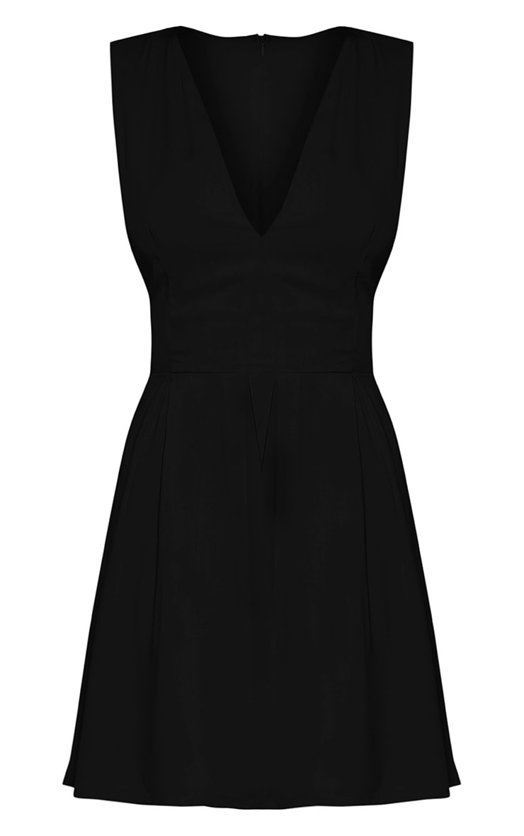 Lindsey Black Plunge Detail Skater Dress 3
