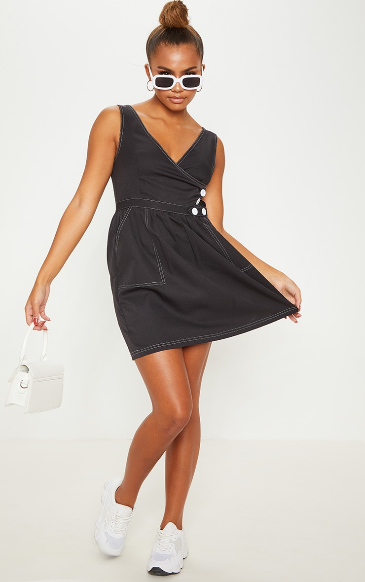 Black V Neck Button Skater Dress 4