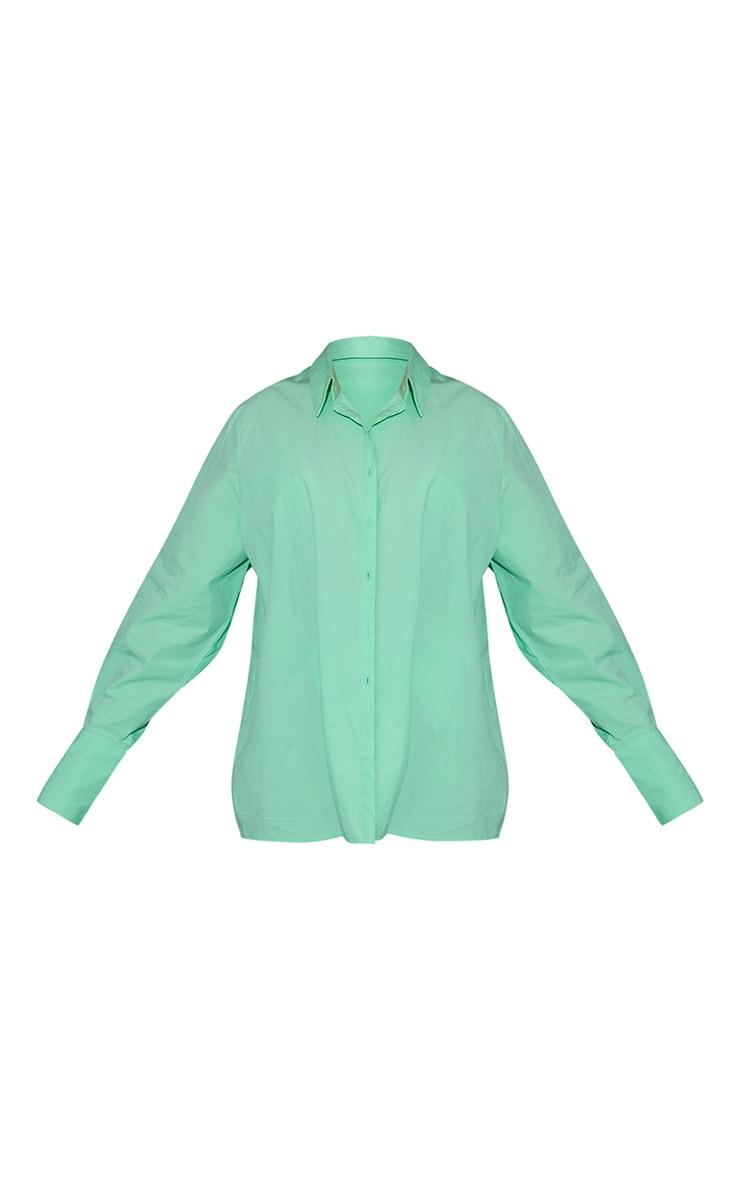 Mint Green Oversized Cuff Poplin Shirt 5