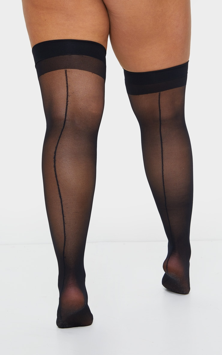 Plus Black Sheer Hold Up Stockings 3