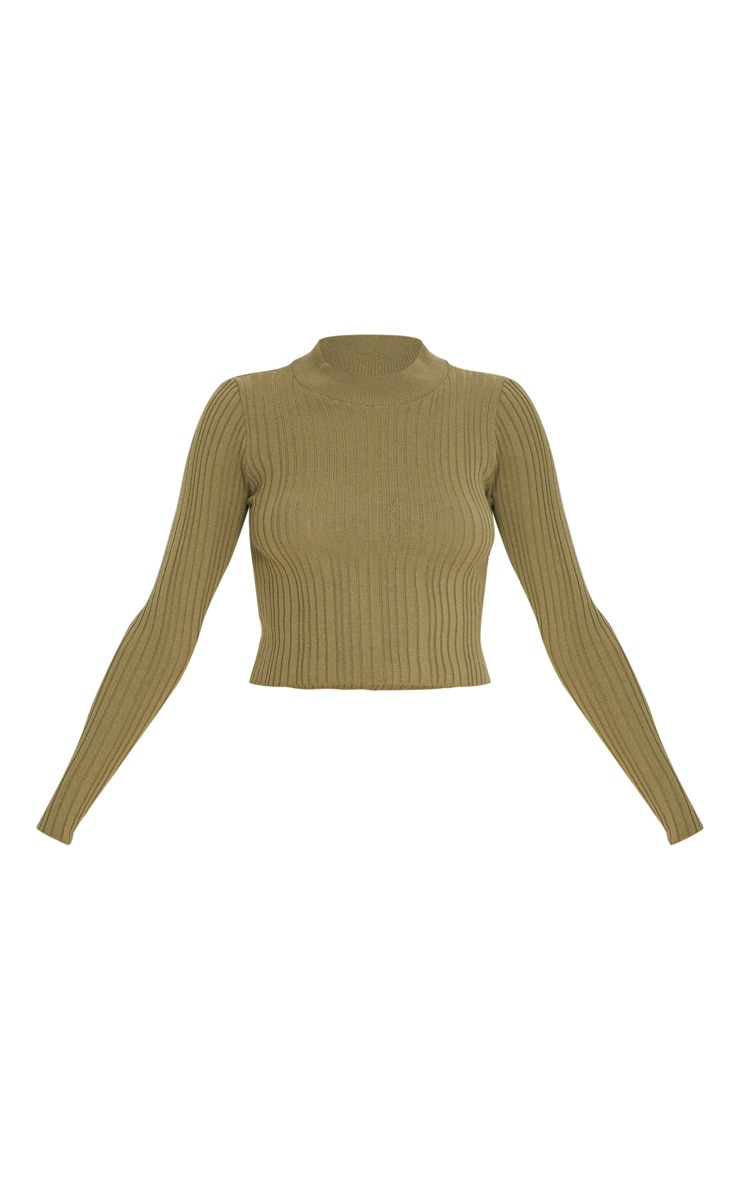 Khaki High Neck Knitted Rib Top 3