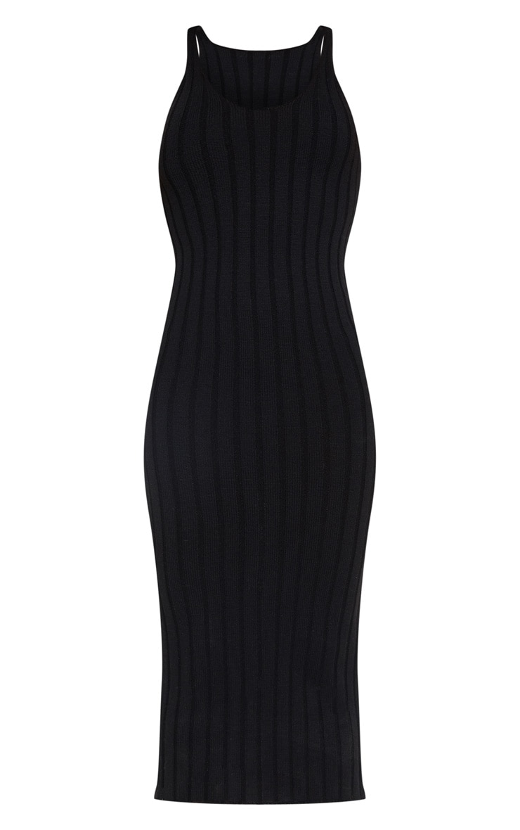 Black Ribbed Knitted Midaxi Dress 3