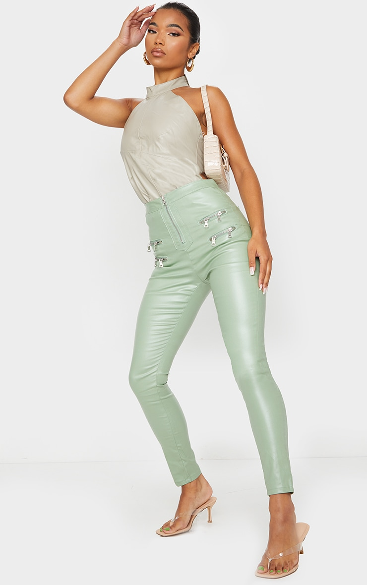 Sage Green Biker Detail Coated Skinny Jeans 1