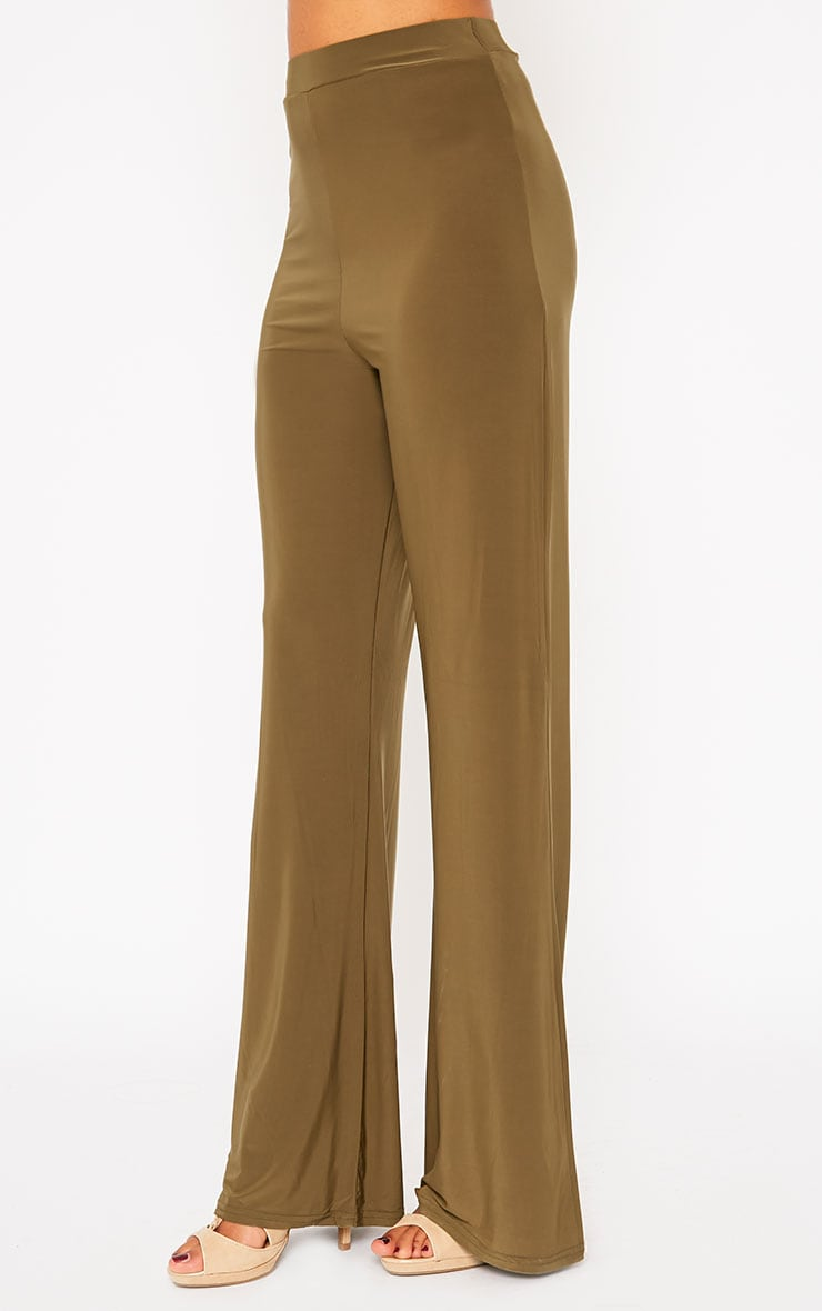 Remi Khaki Soft Touch Wide Leg Trousers 3