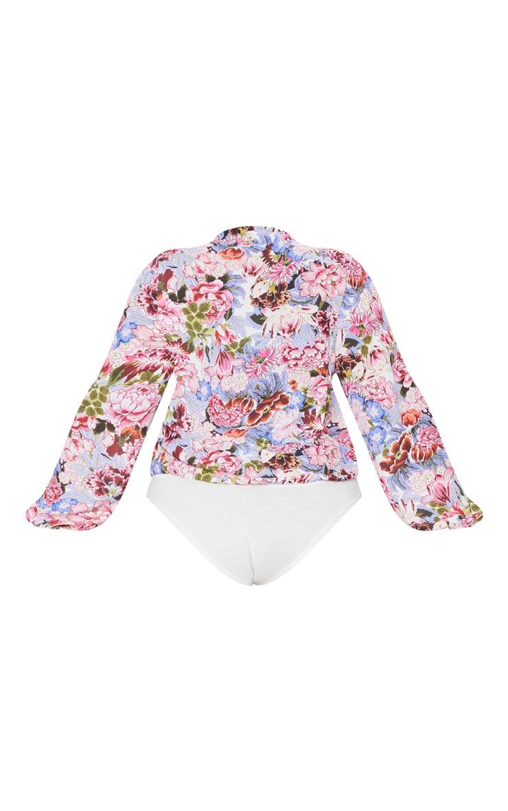 Plus Pink Floral Print Blouse Bodysuit 4