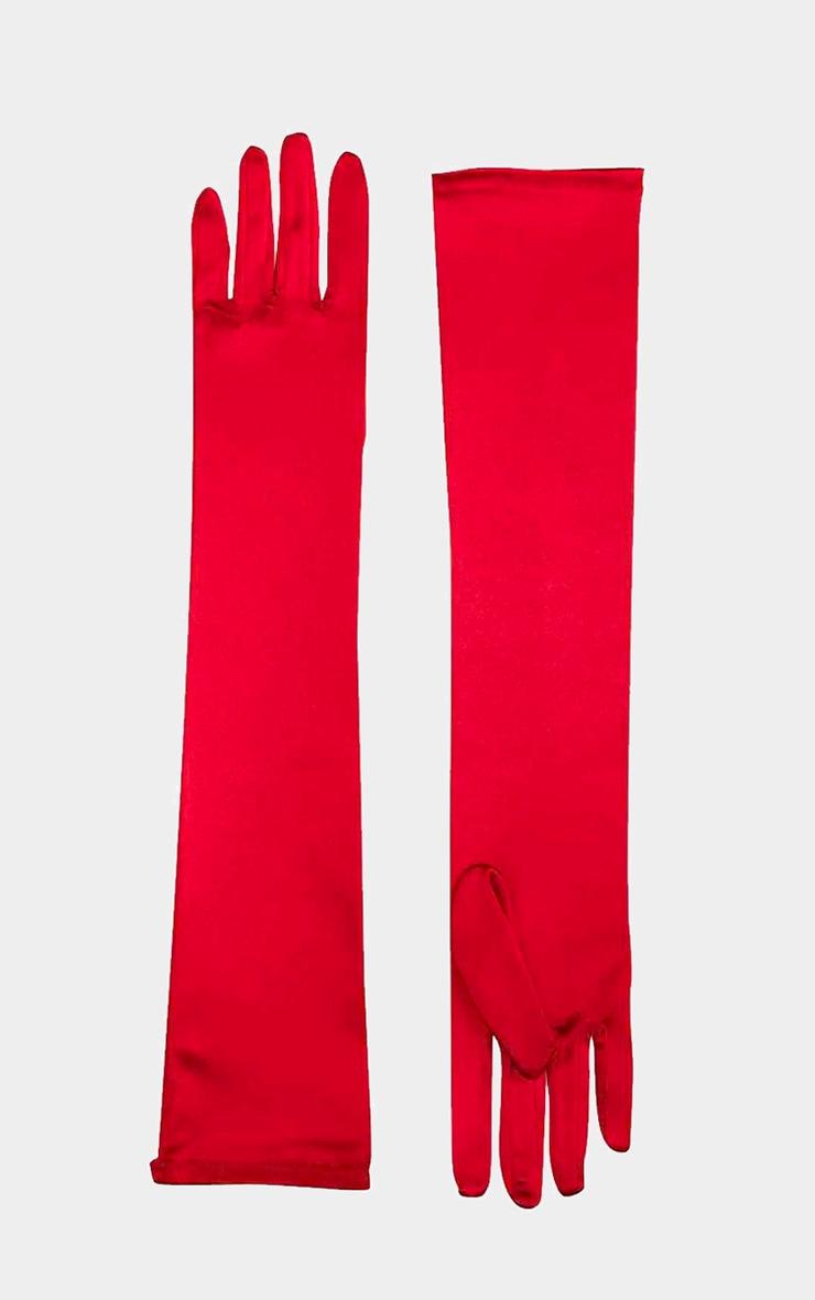 Red Plain Satin Long Gloves 2