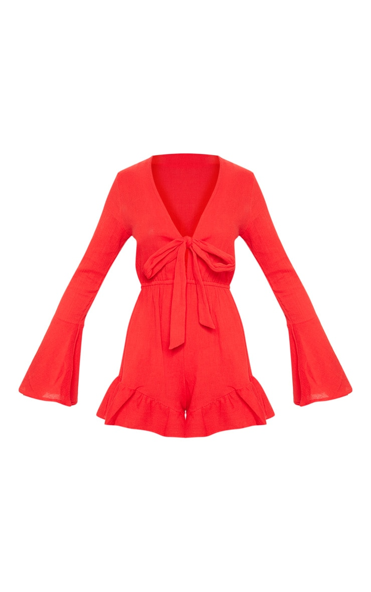 Red Cheesecloth Tie Front Bell Sleeve Playsuit 3