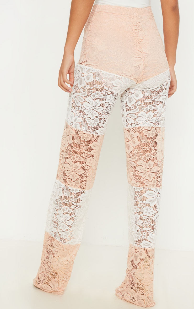 White Colour Block Stripe Lace Wide Leg Trouser 3
